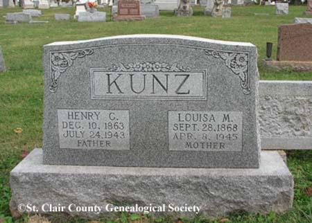 Kunz, Henry G and Louisa M