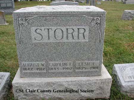 Storr, August W, Caroline E and Elsie C