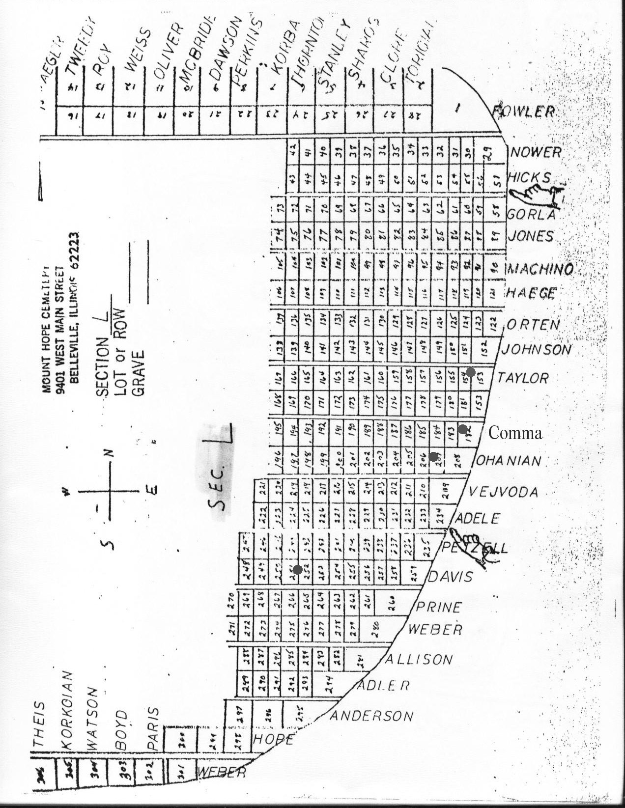 Mt Hope Cemetery St Clair County Genealogical Society 134 F Head Engine Diagram Map Overview Section A B C D E G Hbig Hlittle I